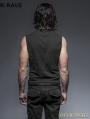 Black Gothic Fron Strap Vest for Men
