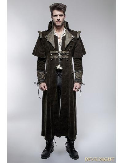 Coffee Gothic Punk Killer Sense Coat with Cape