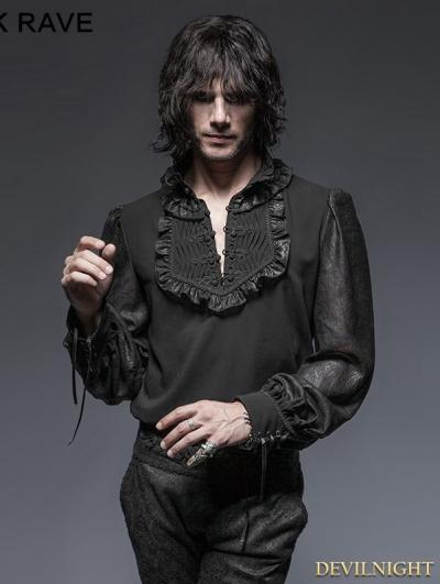 Vintage Chiffon Black Gothic Shirt for Men
