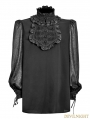 Vintage Chiffon Black Gothic Shirt for Men