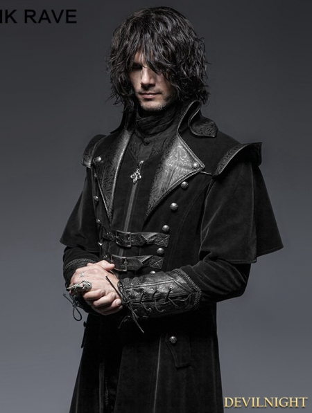 Black Gothic Long Cloak Coat For Men Devilnight Co Uk
