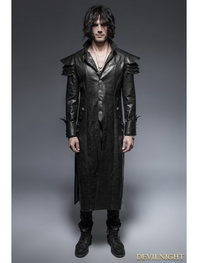 Black Gothic Armor Warrior Long Coat for Men