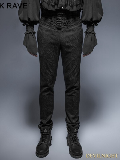 Vintage Black Pattern Gothic Pants for Man