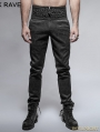 Black Peacock Button Gothic Pants for Men