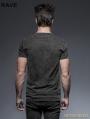 Black Gothic Punk Soilder Short T-Shirt for Men
