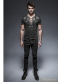 Black Gothic Punk Soilder Short T-Shirt for Men