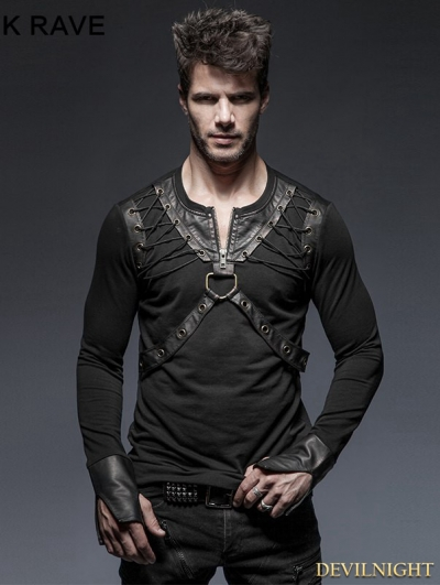Black Gothic Punk Lacing Shoulder Long Sleeves T-Shirt for Men