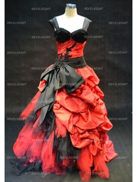 Red And Black Gothic Wedding Dress With Straps Devilnight