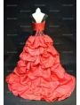 Red and Black Gothic Wedding Dress with Straps