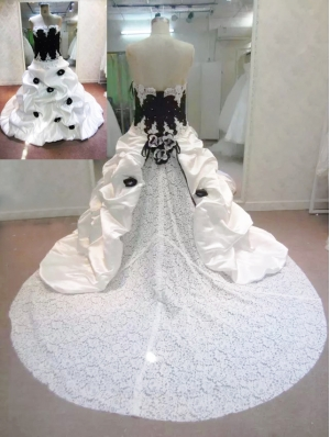 White and Black Taffeta and Lace Romantic Gothic Wedding Dress
