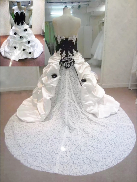 White and Black Taffeta and Lace Romantic Gothic Wedding Dress ...