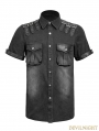 Black Gothic Punk Balanced Pocket Short T-Shirts for Men