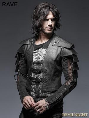 Black Gothic Armor Warrior Short Jacket for Men