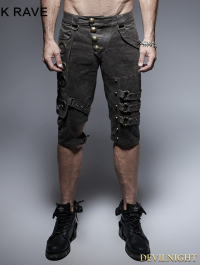 Black Steampunk Shorts for Men