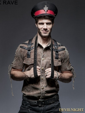 Coffee Steampunk Short Sleeve Shirt for Men