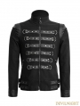 Black Gothic Punk Handsome Soldier Jacket for Men