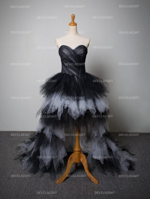 Black and White Tulle High-Low Gothic Wedding Dress