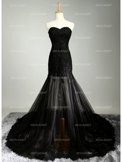 home wedding black lace mermaid gothic wedding dress