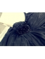 Black Beading Ball Gown Gothic Wedding Dress