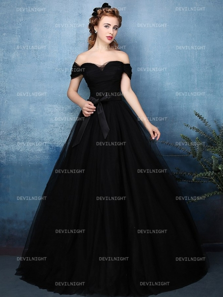 Black Off The Shoulder Princess Style Gothic Wedding Dress