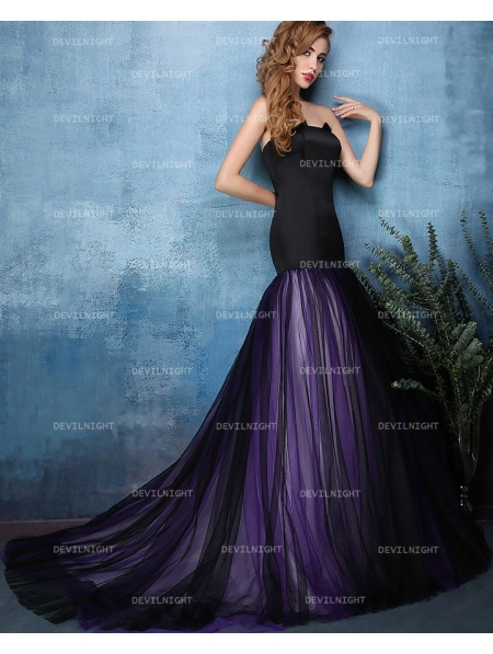 Black and Purple Mermaid Gothic Wedding Dress - Devilnight.co.uk