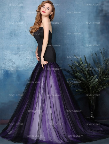 63f9cb76058 Black and Purple Mermaid Gothic Wedding Dress - Devilnight.co.uk