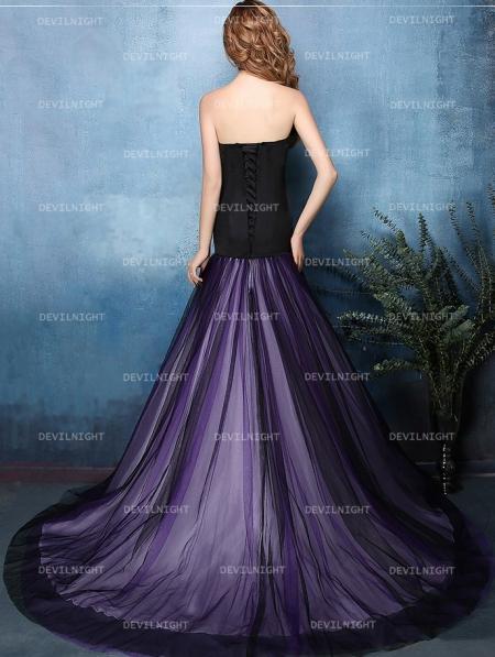 Black and Purple Mermaid Gothic Wedding Dress - Devilnight.co.uk