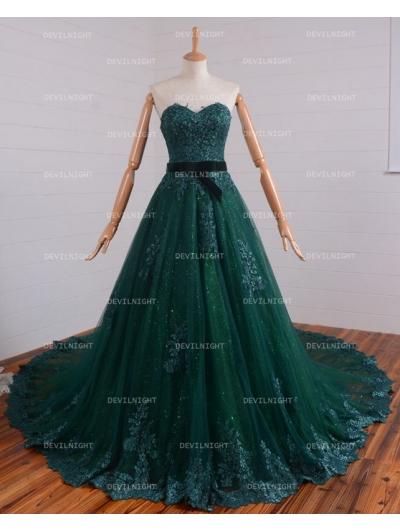 Romantic Green Lace Gothic Wedding Dress