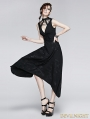 Black Gothic Punk Printing Knit Long Dress