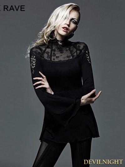 Black Gothic Hollow-Out Tailor Turtleneck T-Shirt for Women