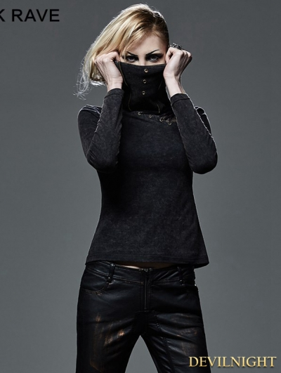 Gothic Punk Turtleneck T-Shirt for Women