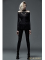 Black Gothic Deep V-Neck Hollow Out Shirt for Women