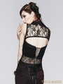 Black Gothic U-Shape Short T-Shirt for Women