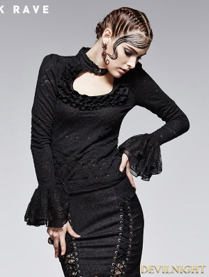 Black Gothic Jacquard Knit T-Shirt with Stand-up Collar for Women