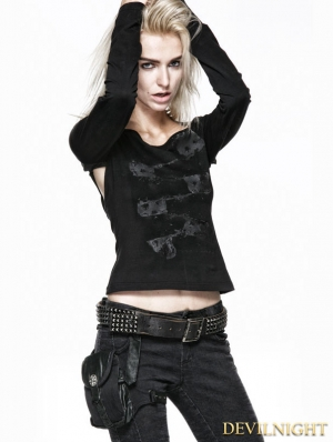 Black Sexy Back Gothic Punk Tee for Women