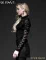Black Gothic Lace Knit Shirt for Women