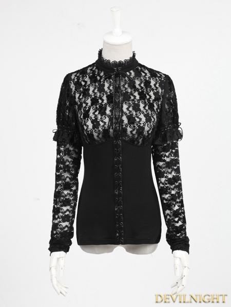 Cap Knitting Patterns : Black Gothic Lace Knit Shirt for Women - Devilnight.co.uk