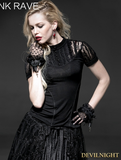 Black Gothic Palace Short Sleeves T-Shirt for Women
