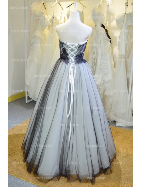 Fashion black and white high low gothic wedding dress for White high low wedding dress