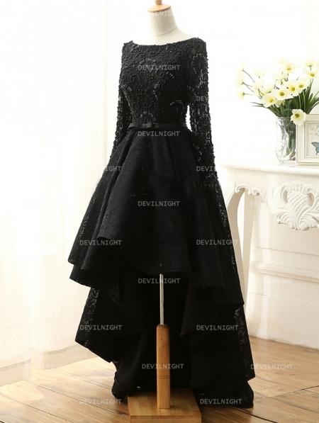 fashion black lace highlow gothic wedding dress