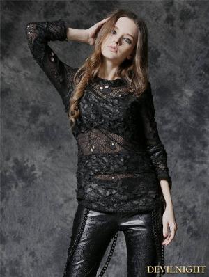 Black Gothic Punk Sexy Skull Net T-shirt for Women