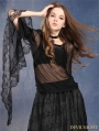Black Gothic Dark Poetry Feel Lace T-shirt for Women