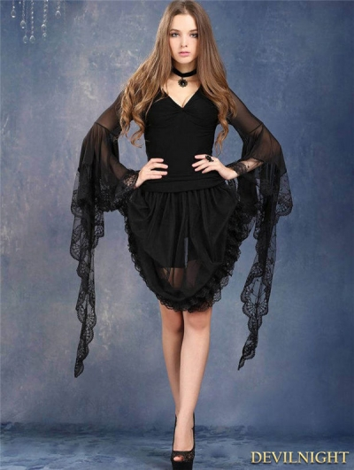 Gothic Black Tee with Transparent Lace Sleeves