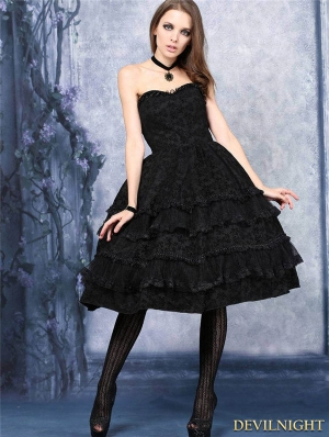 Black Gothic Flocking Corset Dress