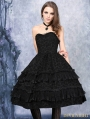 Black Gothic Flocking Corset Dress