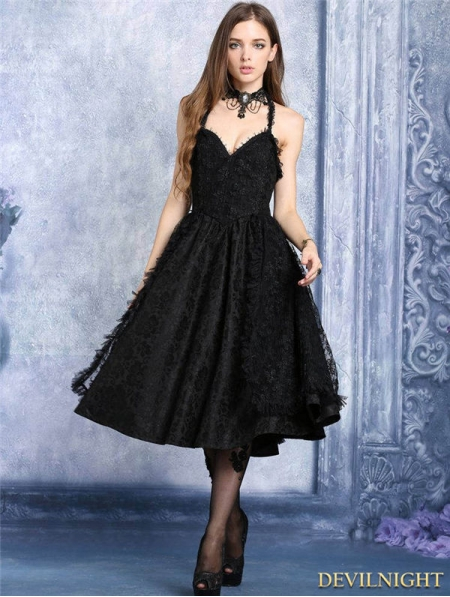 Black Lace Halter Gothic Dress Devilnight Co Uk