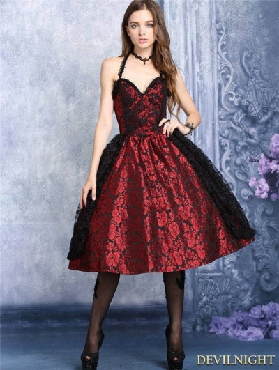 Red and Black Lace Halter Gothic Dress