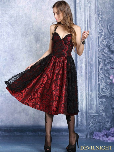 Red And Black Lace Halter Gothic Dress Devilnight Co Uk