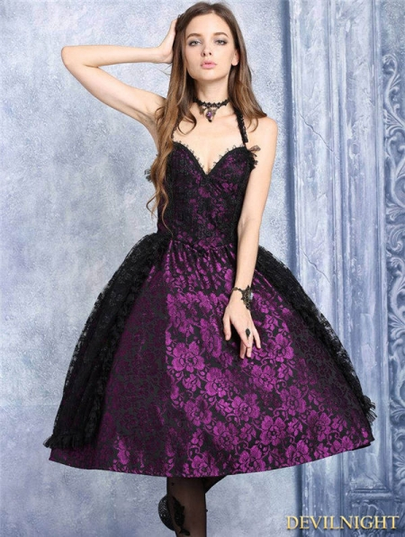Purple And Black Lace Halter Gothic Dress Devilnight Co Uk
