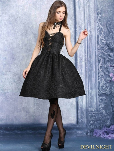 Black Halter Gothic Sexy Gothic Dress
